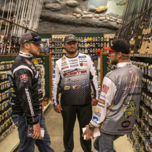 Major League Fishing pros Bradley Roy, Cliff Crochet, and James Elam hanging out at Bass Pro Shops.