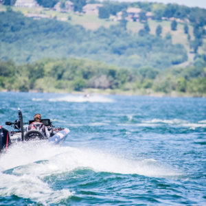 MLF pro Keith Poche takes off on Table Rock Lake. Photo by Phoenix Moore.