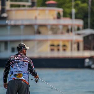 MLF pro Chris Lane fishing near the Showboat Branson Bell. Photo by Phoenix Moore.