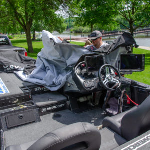 Bradley Roy covering up his Triton with one of the latest products from Covercraft.