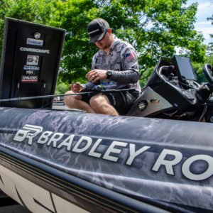 Bradley Roy rigging tackle before a Bass Pro Tour Elimination Round.