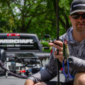 Bradley Roy says a frog is one of the baits that came in handy during Stage Eight in Neenah, Wisconsin.