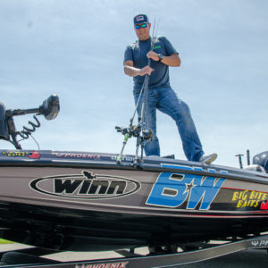 Lane on his Phoenix boats with some of his favorite rods.