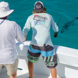 A fishing guide from Hawks Cay Resort prepares to pull a large barracuda into the boat.