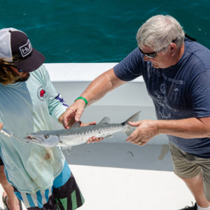 Another Ultimate Dream winner landed a nice barracuda with help from a Hawks Cay fishing guide. Photo by Rachel Dubrovin.