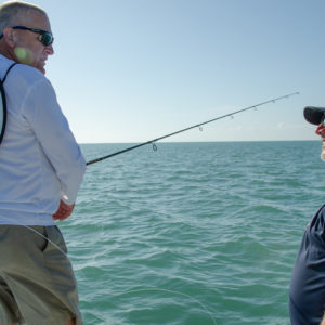 Swapping fishing stories while inshore fishing. Photo by Rachel Dubrovin.