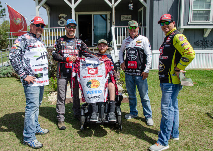 The MLF pros with Kamron Slaydon. Photo by Rachel Dubrovin