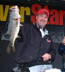 Pro Chad Morgenthaler of Coulterville, Ill., made a hard charge at Schwier with this bass. Morgenthaler was runner-up with a two-day total of 26 pounds, 4 ounces.