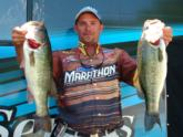 Pat Fisher of Dacula, Ga., is in fourth place with 20 pounds, 3 ounces.