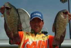 Vic Vatalaro of Kent, Ohio, used a catch of 18 pounds, 13 ounces in today's competition to gain a share of second place.