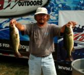 Pro Lloyd Pickett of Bartlett, Tenn., shows off two kicker fish caught Wednesday on the Mississippi River.