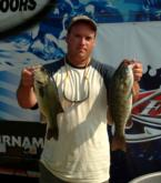 Co-angler Caleb Kuphall finished day one on the Mississippi River tied for third place with a limit weighing 11-5.