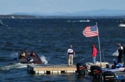 A big south wind roiled up Lake Champlain Wednesday afternoon to make the running tough.