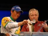 BP pro Shinichi Fukae of Mineola, Texas, holds down the fourth spot with five bass for 9 pounds, 4 ounces.