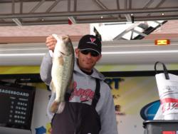 Finishing second, coangler Aaron Reitz caught all of his fish on a drop shot rig.
