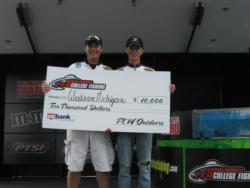 The Western Michigan team of John Gipson, Jr., of Niles, Mich., and Matt Monroe, of Three Rivers, Mich., won the National Guard FLW College Fishing Central Division event on the Detroit River Saturday with six bass weighing 20 pounds