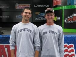 The University of Wisconsin-Stout team of Jeremy Anibas of Colfax, Wisc., and Ryan Helke of Menomonie, Wisc., finished in second place overall at the FLW College Fishing event at the Detroit River.