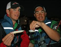 Alec Brassington and Christopher Wong of Sacramento State will thow topwaters and lipeless crankbaits today.