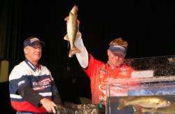Pro Scott Steil and co-angler Jerry Chwierut caught five walleyes Friday that weighed 16 pounds, 8 ounces.
