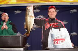 Pro Randy Cisler soared into second on the back of two massive Sam Rayburn largemouths, including the Big Bass winner for day two.