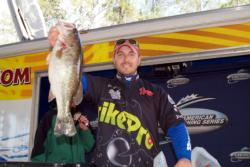 Brent Broussard landed the Co-angler Division Big Bass award on day two.