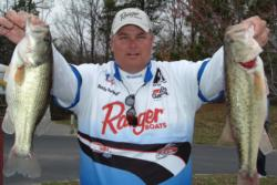 Pro Rusty Trancygier moved way up the standings on Lake Norman, leapfrogging from 10th place to second place overall on the strength of a total two-day catch of 27 pounds, 9 ounces.