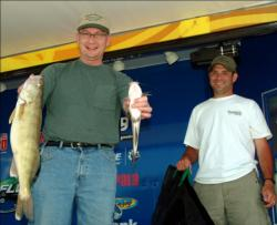 The award for biggest walleye went to Sfc. Jeff Nord, pictured with partner Sfc. Jared Richter.