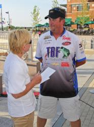Top boater Brian Maloney gives a media interview after taking the day-one lead.