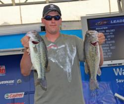 Jake Akin leads the co-angler division by a little over a pound.