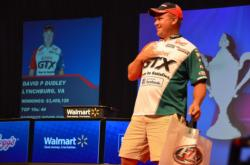 For the second consecutive day, Castrol pro David Dudley was welcomed onstage by the Chicken Dance song. Dudley managed to do his best to strut his stuff as he slowly danced his way to the weigh-in podium.
