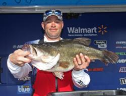Louisiana co-angler Casey Martin stole the show when he lifted this 13-pound, 1-ounce whopper.