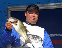 A football head jig and a Carolina rig were the day-three baits for Howard Hartley.