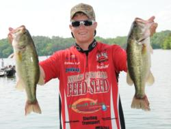 Ethan Cox of West End, N.C., leads the Co-angler Division of the EverStart Series event on Wheeler Lake with a five-bass limit for 18 pounds, 9 ounces.