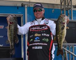 Randall Tharp continued his dominance on Lake Okeechobee with 23 pounds, 13 ounces on day one.