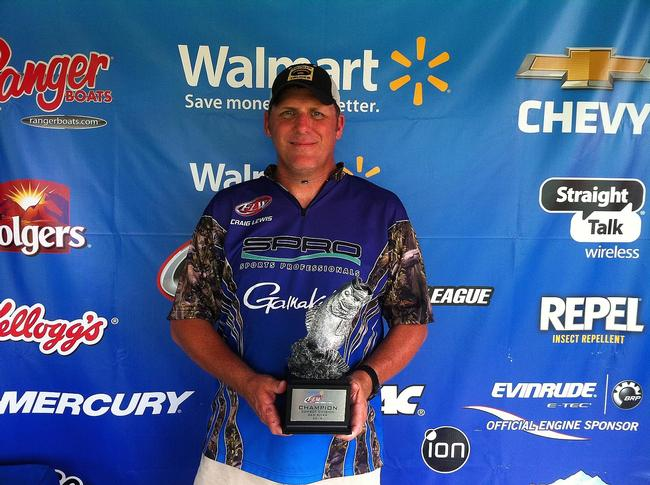 Co-angler Russell Lewis of Pineville, La., won the June 14 Cowboy Division event on the Red River with a 19-pound, 2-ounce limit. He walked away with close to $2,000 in tournament winnings for his efforts.