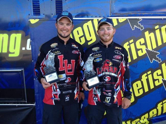 The Lamar University team of Brandon Simoneaux of Bridge City, Texas, and Josh Bowie of Port Neches, Texas, won the FLW College Fishing Southern Conference Invitational tournament on Sam Rayburn Reservoir with a two-day total of 10 bass weighing 29 pounds, 5 ounces. The victory earned the club $4,000 and qualified the team for the 2015 FLW College Fishing National Championship.