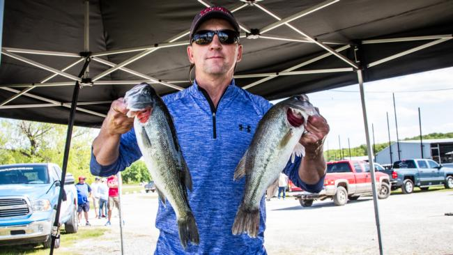 Co-angler Ryan Lejeune takes the day one lead with 12 pounds, 4 ounces on Lake Texoma.