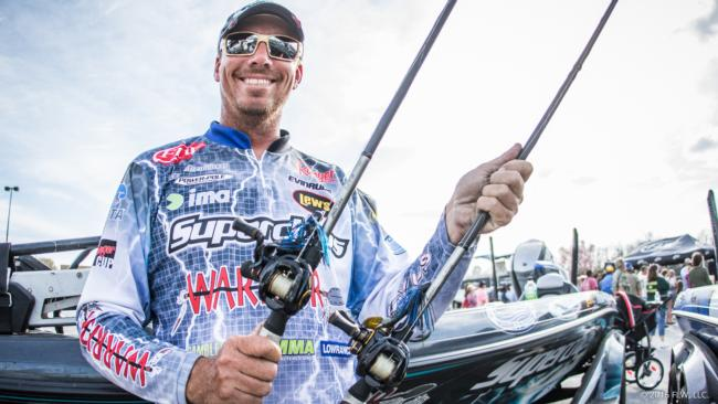 3. If Glenn Browne makes the top 10, you can almost guarantee he did it with a Lew's flipping stick in his hand with a jig on the end of the line. Browne primarily flipped mats this week with a homemade black and blue jig and Zoom Big Salty Chunk trailer. He also flipped a 1-ounce Reins TG Punch Shot tungsten sinker with a black and blue skirt and Gambler Why Not trailer.