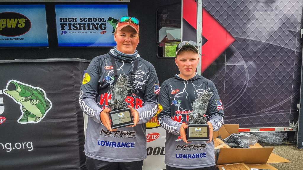 Image for Waupaca Junior Bass Busters Win Bass Pro Shops FLW High School Fishing Mississippi River Open in Wisconsin