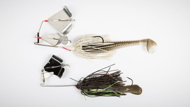 1//8 oz Baby Buzzbait Gold Blade Top Water Lure for Bass.